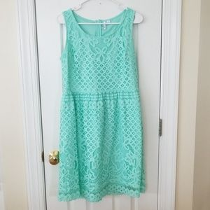 Teal Elle Lace Sleeveless Dress